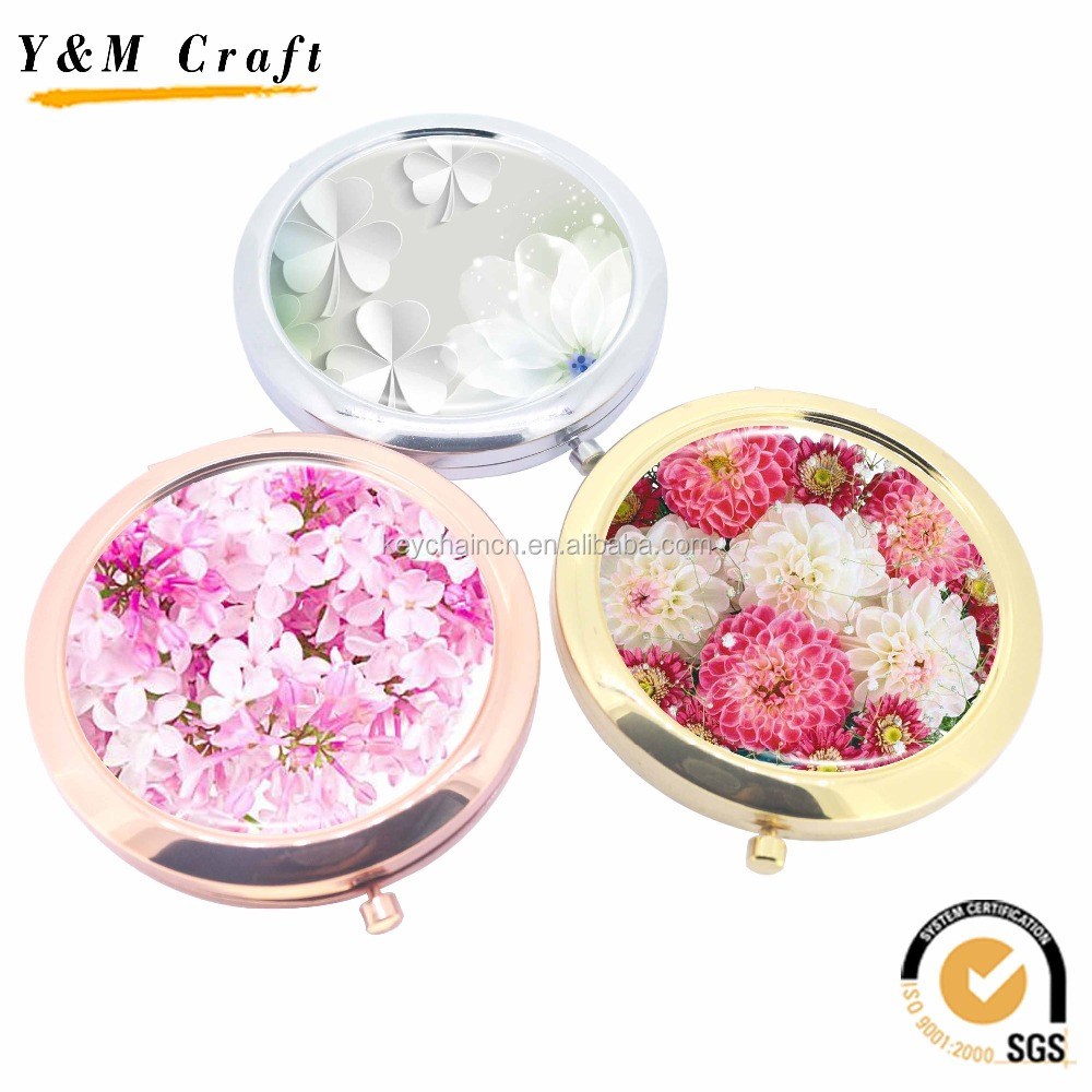 Cheap Promotional Gifts Pocket/makeup/Cosmetic Mirror with epoxy sticker/printing logo