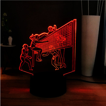 New 3D Creative Sport Women's volleyball team Playing Volleyball 3Color Change LED Novel Deco Table Lamp Best Present of Friends