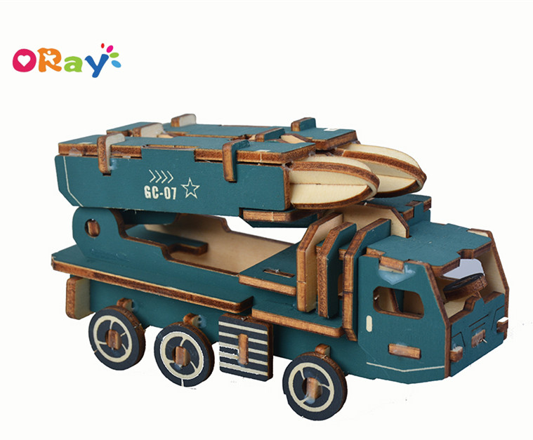 Oray Educational DIY 3D Wooden Puzzle Cars For <strong>Kids</strong>--Missile vehicle
