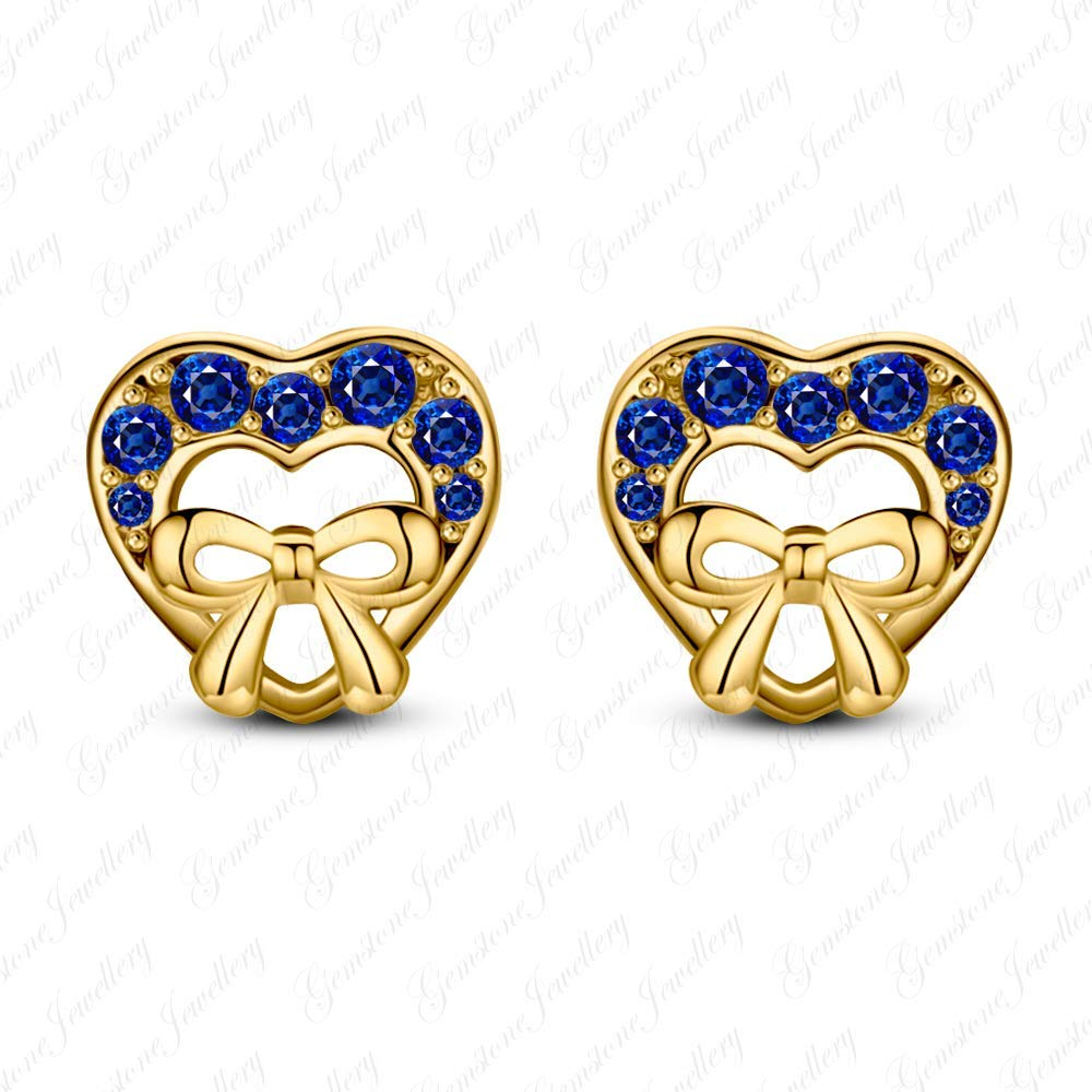 Gemstar Jewellery Round Cut Tanzanite 14k White Gold Fn 925 Silver Disney Minnie Mouse Bow Stud Earrings