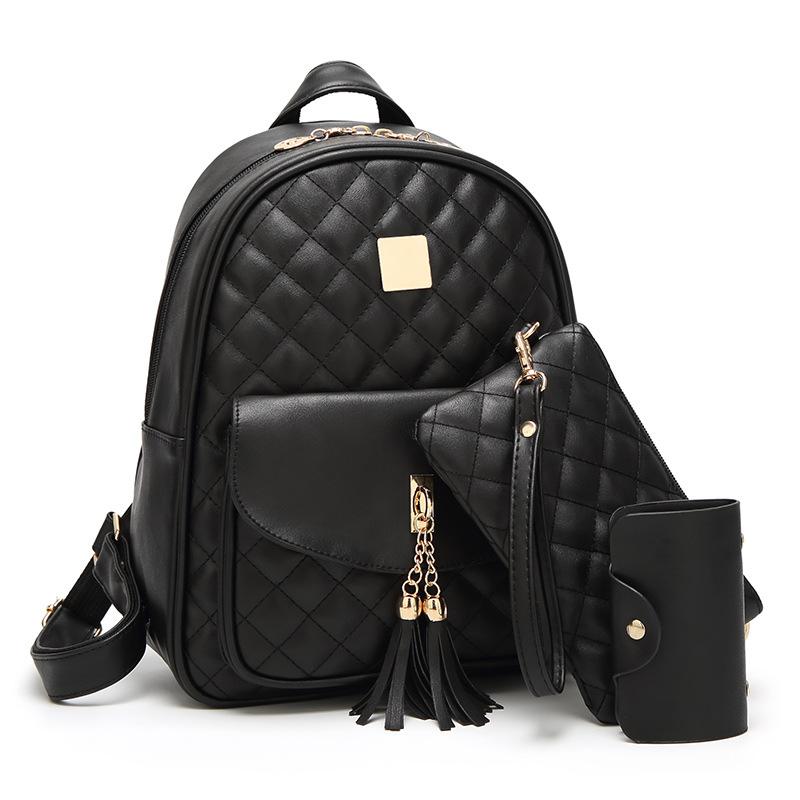 Conjunto de 2 mochilas de moda para mujer, mochila negra con