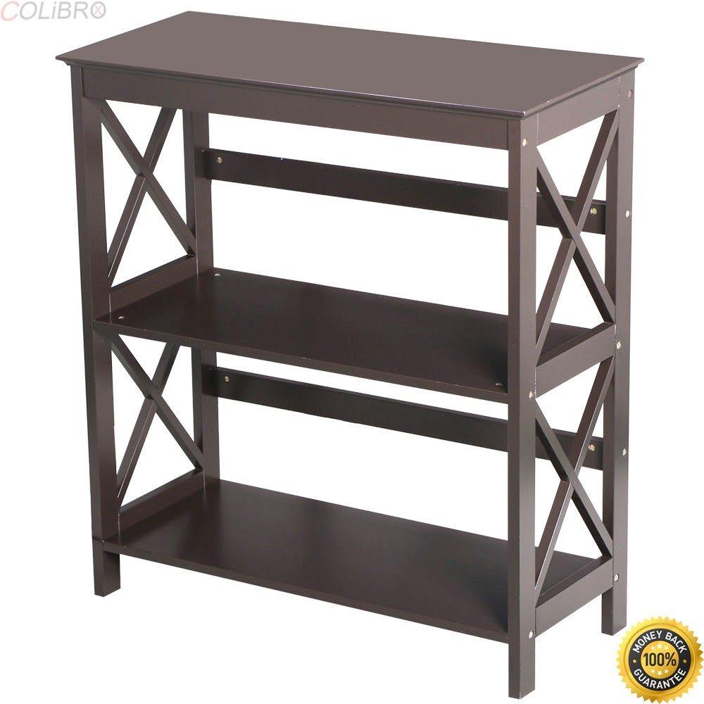 COLIBROX--3 Tier Wood Bookcase Bookshelf Rack Stand Storage Organizer Home Furniture Decor,vintage wooden library cart,vintage library book cart,best rolling carts for teachers,book cart