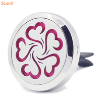Beautiful flower hollow-out 30mm Stainless Steel Car Diffuser Locket for enjoy DIY Aromatherapy Essential Oil flavor in Car