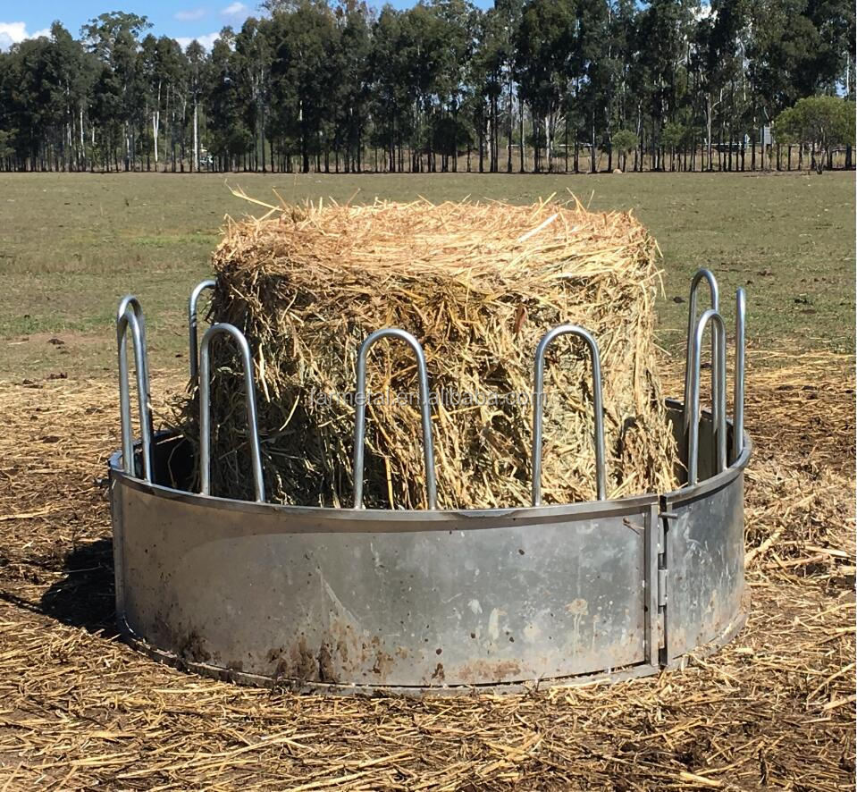 Three Pieces Round Bale Hay Feeders, Livestock Feeders for Cattle, Goats, Sheep, Horse