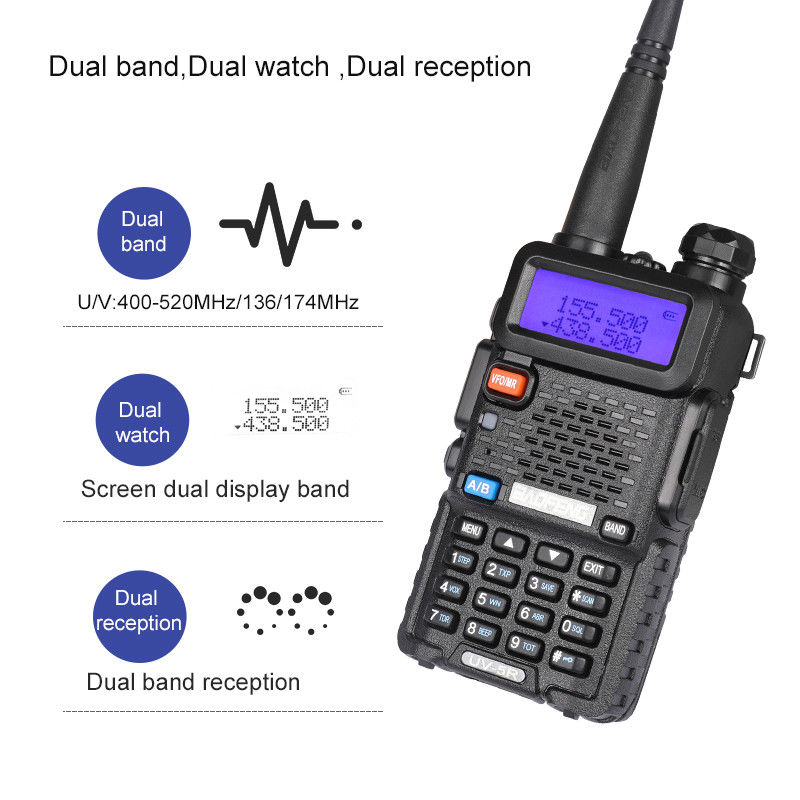 BAOFENG UV-5RE Plus Dual Band U//V 2-way Radio 136-174 400-520MHZ UV5R Walkie
