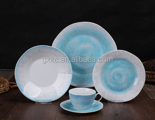 Super white body 20pcs island shape with in-glaze fasion design wholesale dinner set-SHZ7709