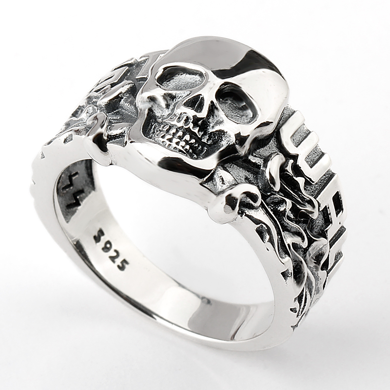 925 Sterling Wholesale Antique Punk Biker Skull S925 Head Gothic Vintage Silver Man Ring