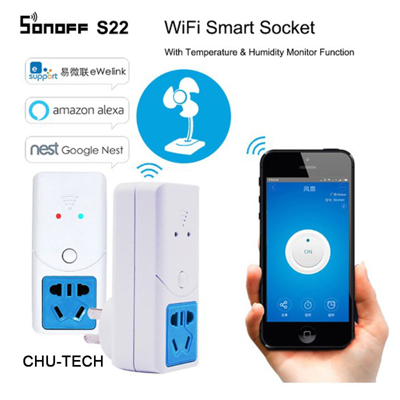 Sonoff S22 Smart Wifi Power Socket AU CN Plug Wireless Outlet Socket Support Temperature Humidity Monitor Sensor Work With Alexa
