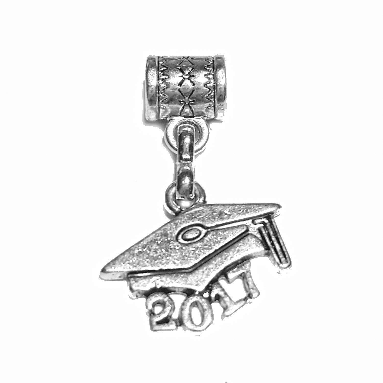 """Graduate 2017 charm"" is a Tibetan Silver Hanging charm for large hole style snake chain bracelets, or add to a neck chain, pendant necklace or key chain."