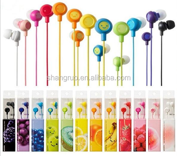 Creative Headphone Promotion gift fruit smiling face earset cartoon children creative mobile phone headset