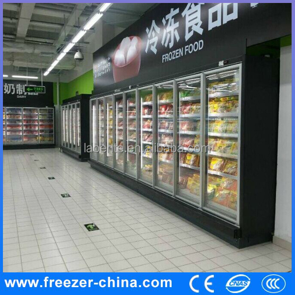 High Class 6 doors Commercial Sliding Door Upright Freezer