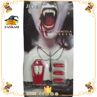 Halloween Dracula Teeth Toy Vampire Fangs with Fake Blood