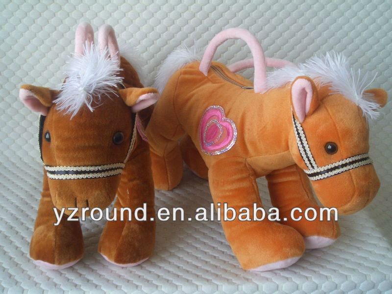 running horse hand bag stuffed toy