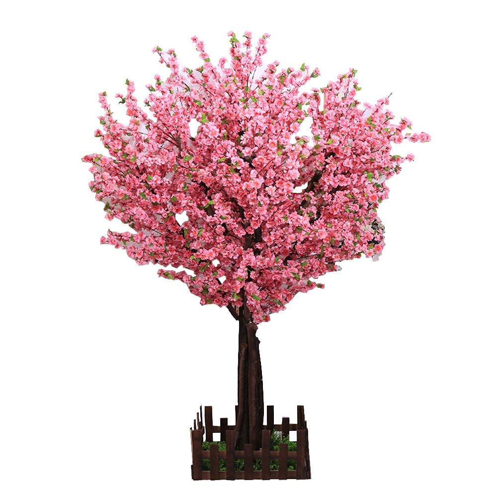 j-beauty Artificial Peach Blossom Trees Artificial Cherry Blossom Tree, Silk Flower With True Tree Trunk (5 feet Tall)