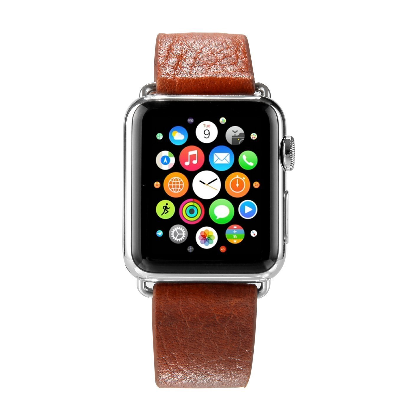 Apple Watch Band, iwatch Band w/ Metal Clasp, 42mm Genuine Leather Apple Watch Strap Wrist Band Replacement Watch Band with Metal Clasp for Apple Watch 42mm Brown Leather