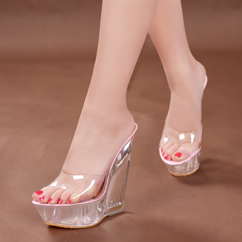 f7d1b53dfff Platform Sandals 14cm High Heel Peep Toe Summer Women Transparent Shoese  Slip-On Wedge Clear Heels Sexy Lady Platform Sandals