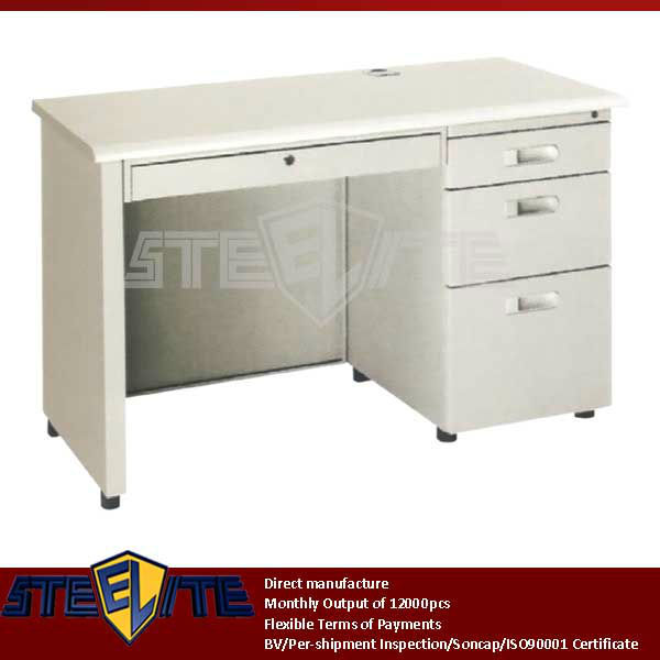 Home Desk Furniture Lockable 3 Drawer Steel White Computer Table Design  With Study Desk
