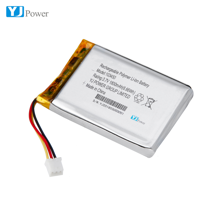 1S1P 2S1P 3S1P 103450 3.7v 1800mah lithium polymer battery with JST connector / cells with NTC