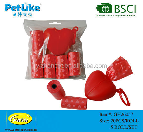 0Rolls Custom Printed Outdoor Dog Poop Bags With Heart Shape Dispenser