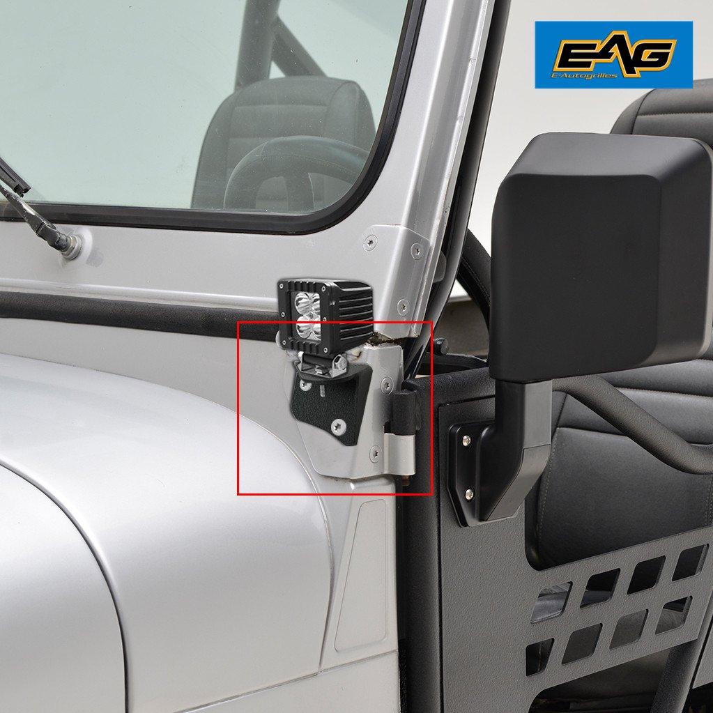 Get Quotations · EAG Windsheild Light Mount Brackets (Lower Hinge) for  87-06 Jeep Wrangler TJ
