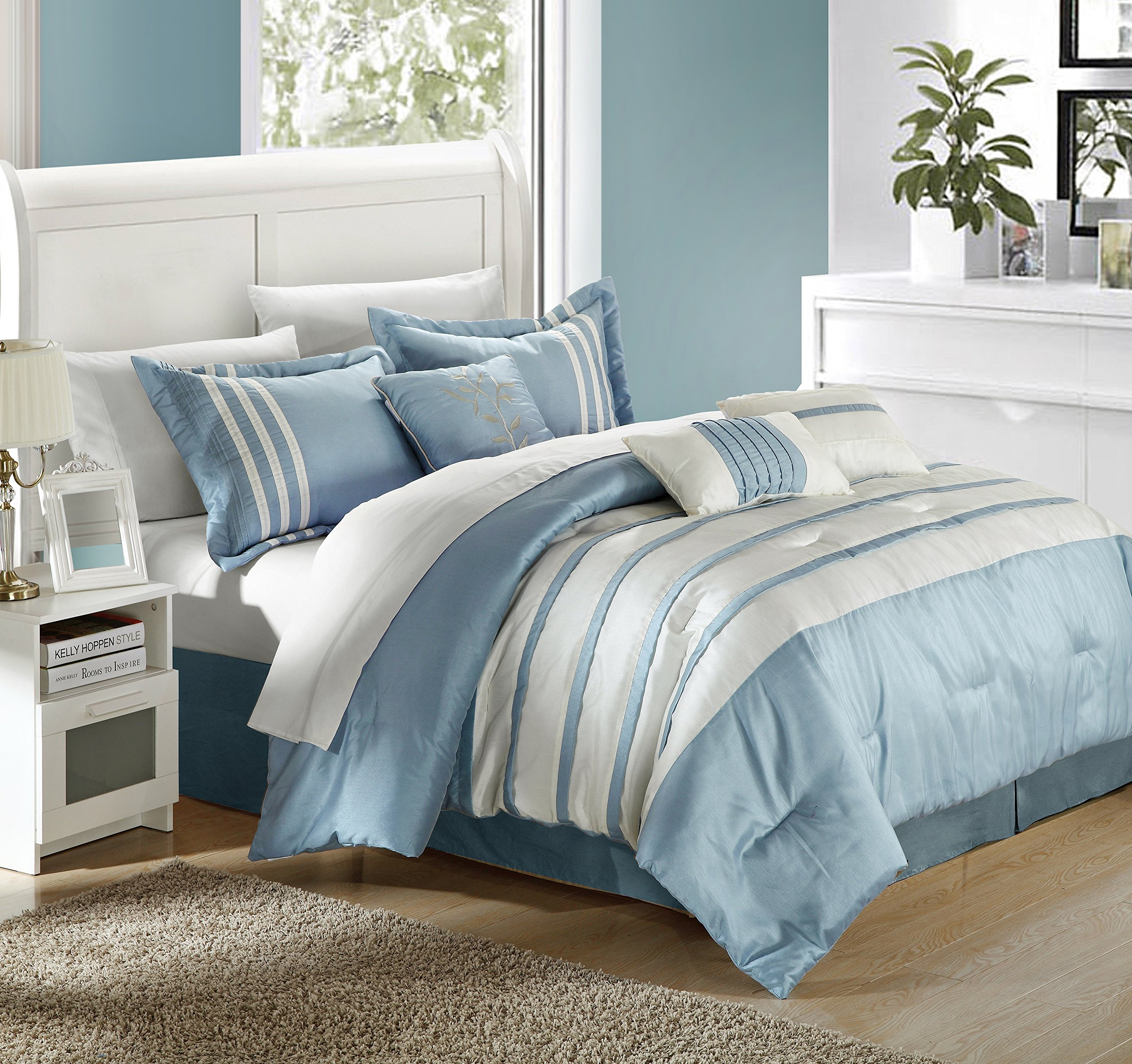 Chic Home Torino Pleated Piecing Luxury Bedding Collection 7-Piece Comforter Set, Queen, Blue