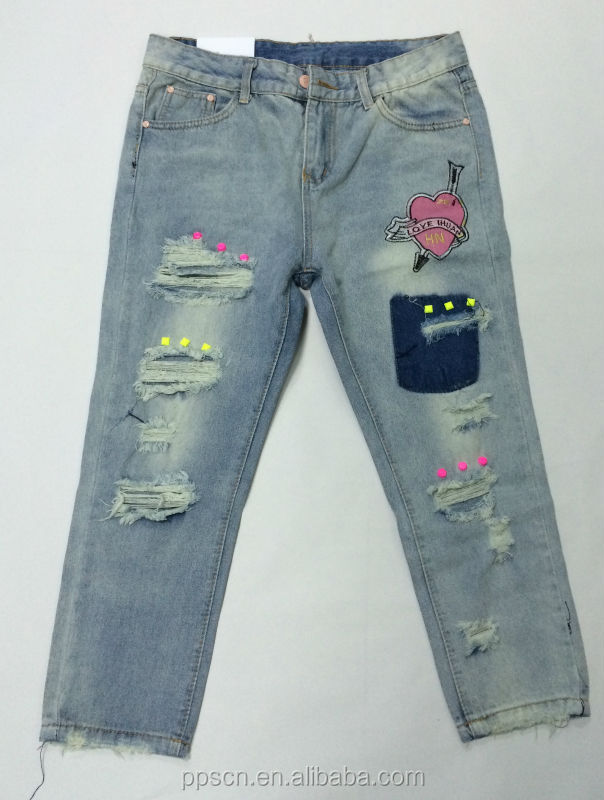 new style fashion jeans girls ladies jeans embroidery pocket design