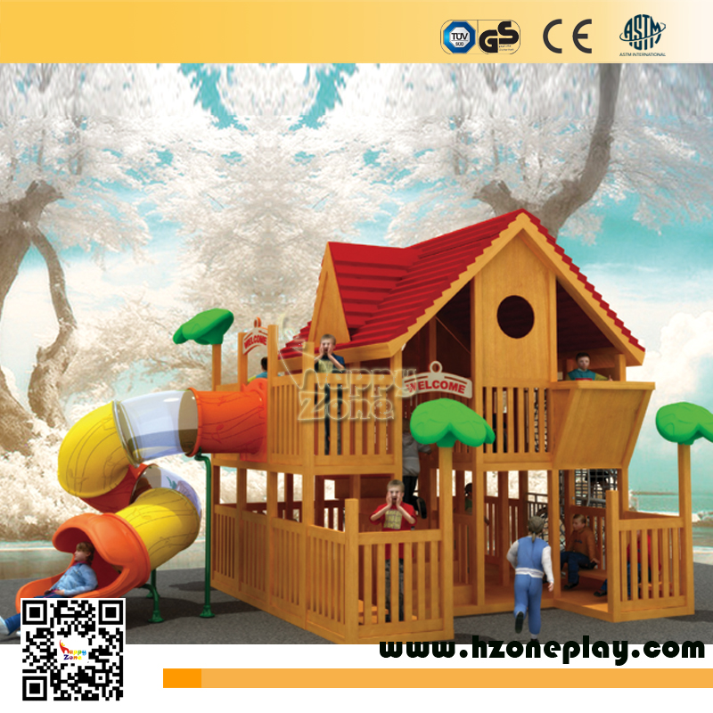 Outdoor Wooden Playhouse With Slide Happy Zone for Children