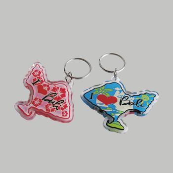 Custom Personalized Map Bali Island Clear Acrylic Souvenir Key Chain