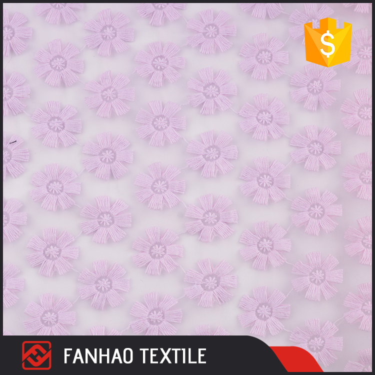 Top selling export textured purple floral organza embroidered tulle fabric for dress