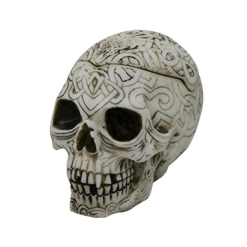 4.5 Inch Celtic Pattern Imprint Skull Container with Lid Figurine