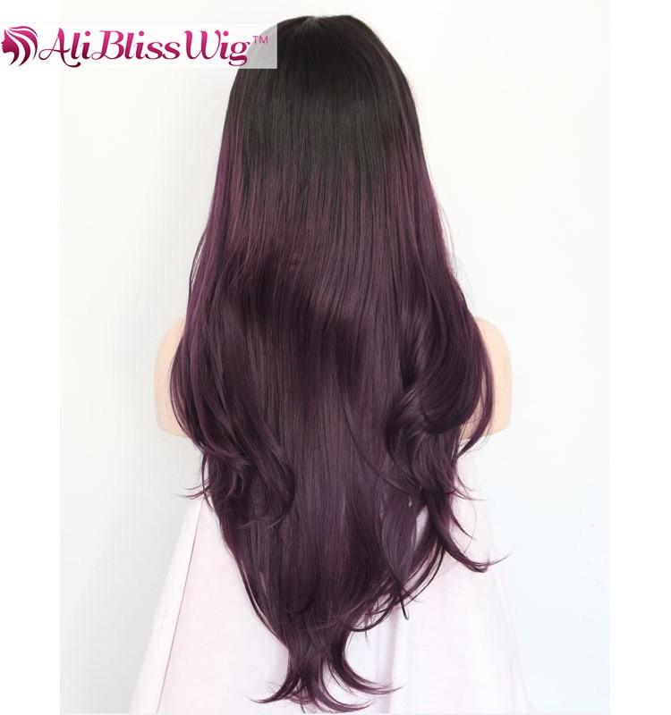 24 Gerade Wellenförmige Mittelscheitel Multi Layered Haarschnitte Lange Haare Zwei Ton Lila Ombre Synthetische Spitzeperücken Für Schwarze Frauen