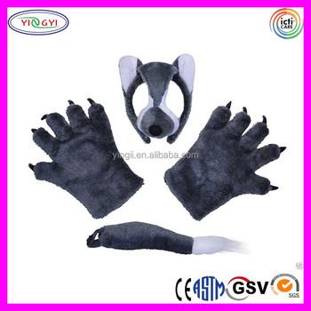 b844 adult wolf ears headband tail gloves set mask fancy dress animal halloween wolf mask