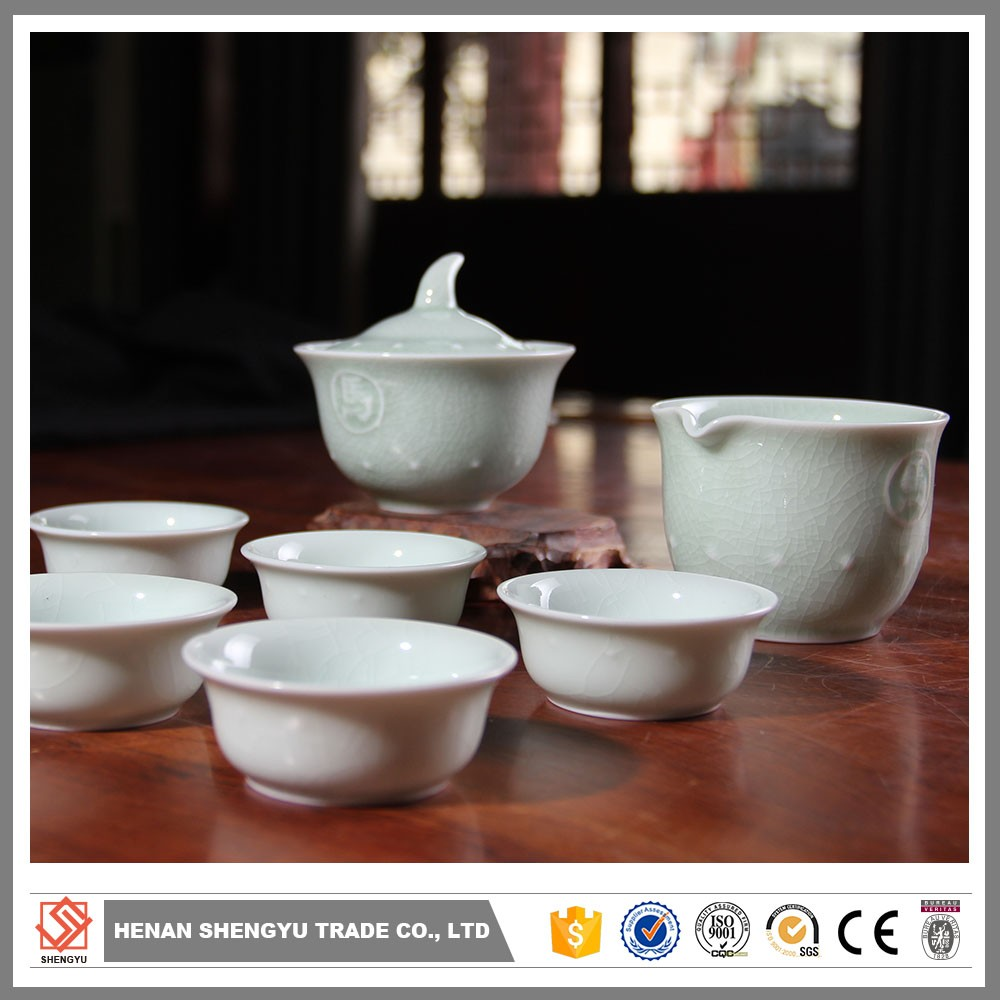 porcelain tea set with flower decal