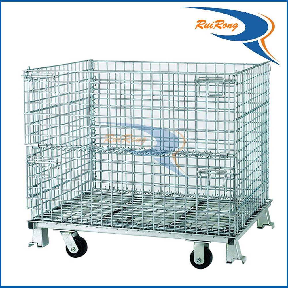 Folding Steel Wire Mesh Container Metal Storage Pallet Cage for Sale