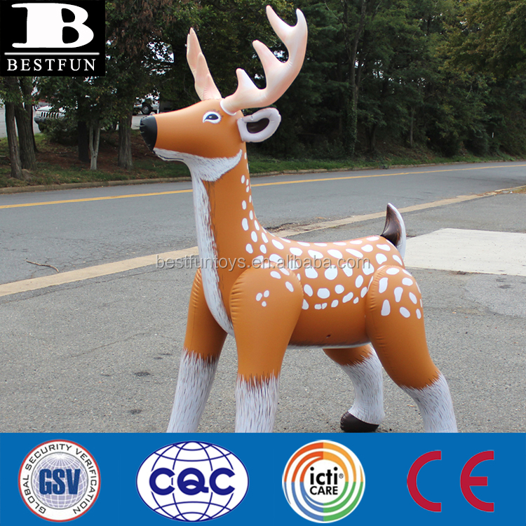 high quality inflatable reindeer durable plastic lifelike inflatable christmas reindeer durable plastic large zoo animal toys