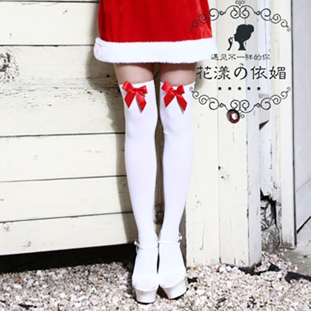 f031e0ae911 Get Quotations · Christmas Accessories Christmas Stockings Thigh Socks Knee  Socks White Silk Stockings Red Bow