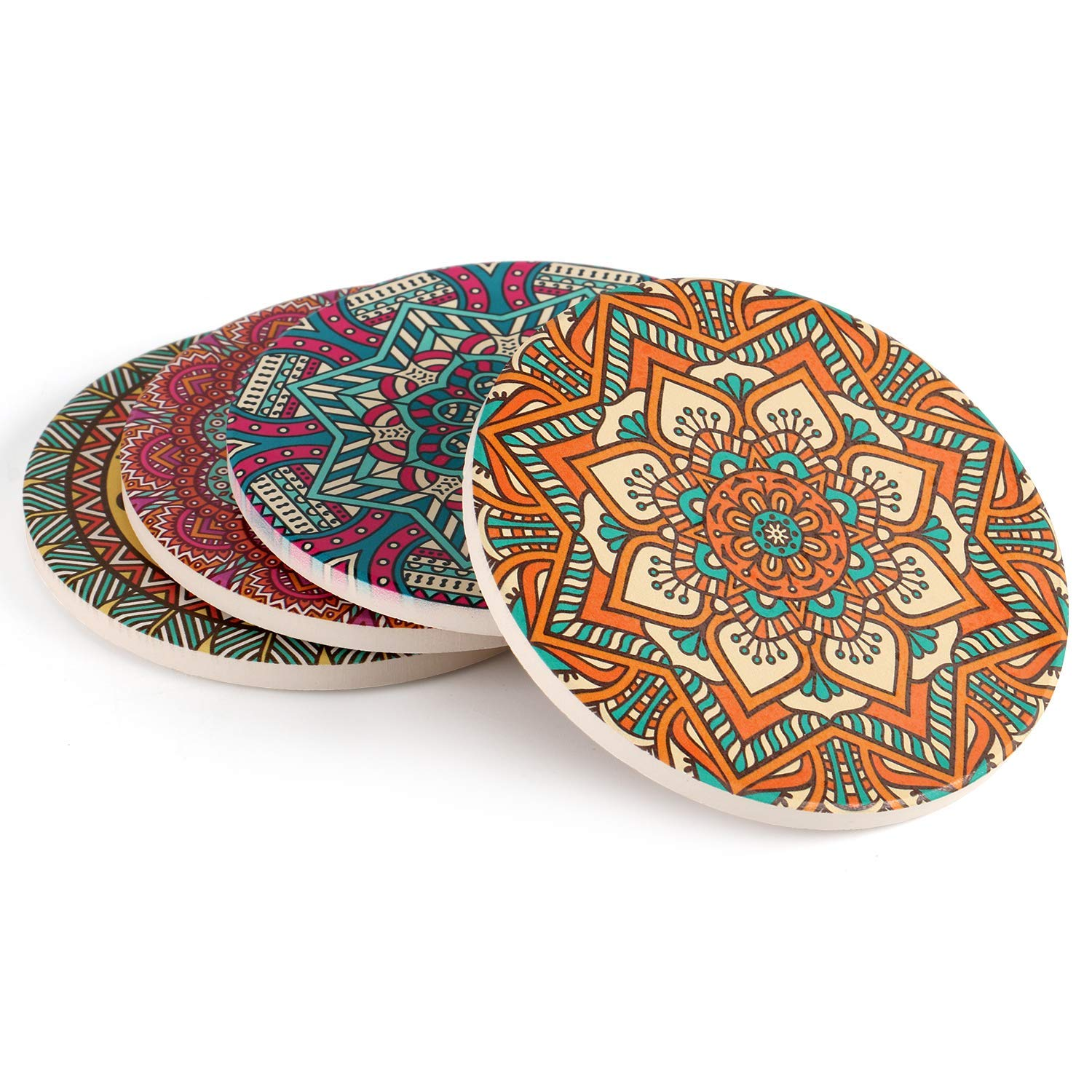 "Coasters for drinks set funny absorbent with cork base, Absorbing Ceramic Stone Protect Furniture From Water Dirty and Scratched 4"" size Suitable for Kinds of Mugs and Cups MANDALA designs Set of 4"