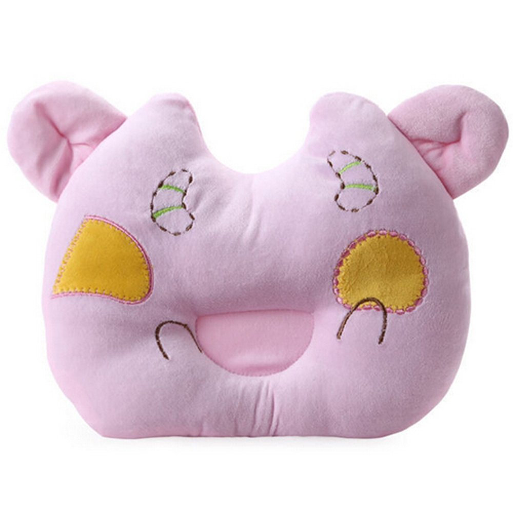 Pink Cute Calf design Baby Positioner Pillow for sleeping , Prevent Flat Head With Super Comfortable and Safe cotton toddler Protective Sleep Pillow for 3-12 months
