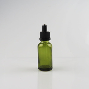 30ml green essential oli dropper glass bottle with pipette and black top