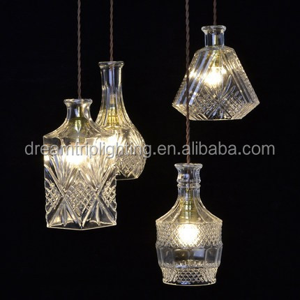 Nordic creative carved crystal glass bottle chandelier retro chandelier bar restaurant three head hanging lamp
