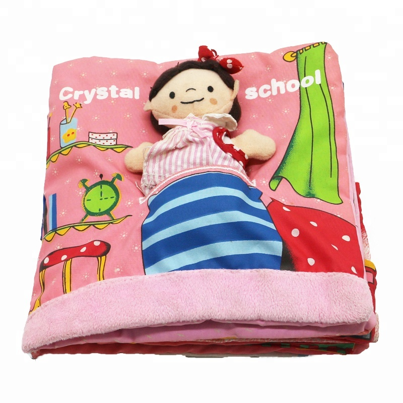 3D girl design health educational toy cloth book for kid baby children