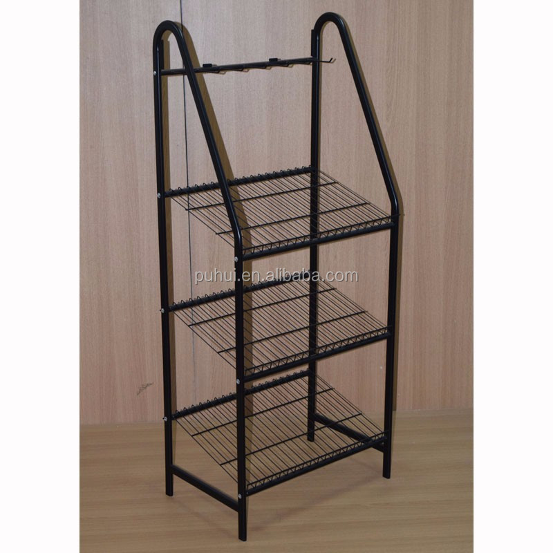 retail store pop presentation fixture multi layers iron steel wire shelf  floor standing metal belt display rack