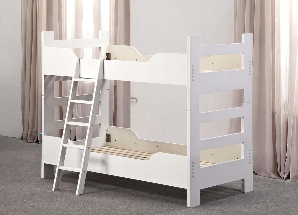 Bella bianco letto a castello di legno per i bambini forte di legno letto a castello mobili - Letto a castello bianco ...