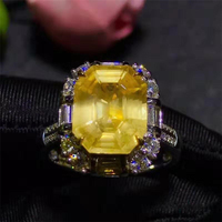 SGARIT gemstone jewelry luxury 4.91ct Natural Yellow Sapphire dual way use ring pendant 18k gold jewelry for women wedding party