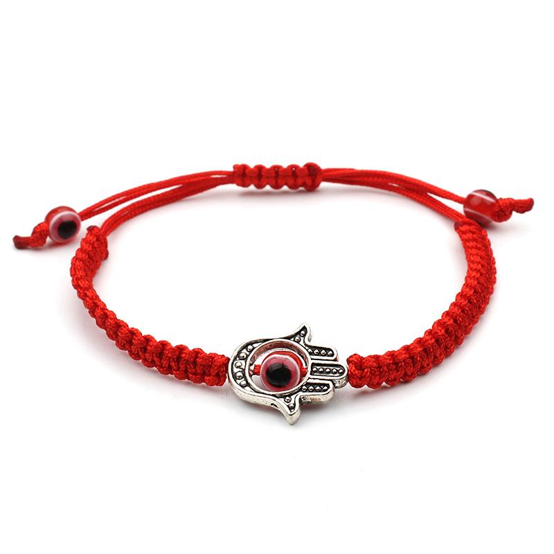 Handmade Turkish Hamsa Bracelet Evil Eye Rope Braided Bracelets Women, Red