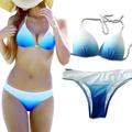 Female Sexy Bathing Suit Trikini Gradient Blue Push Up Micro Brazilian Strappy Halter Beachwear Swimwear Women