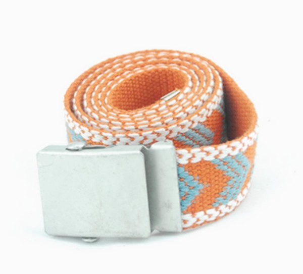 OEM child fabric jacquard webbing belt with plate buckle