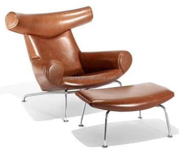 Modern Classic Lounge Furniture Replica Hans Wegner Chair Stainless Steel  Cow Horn Chair Genuine Leather Hans