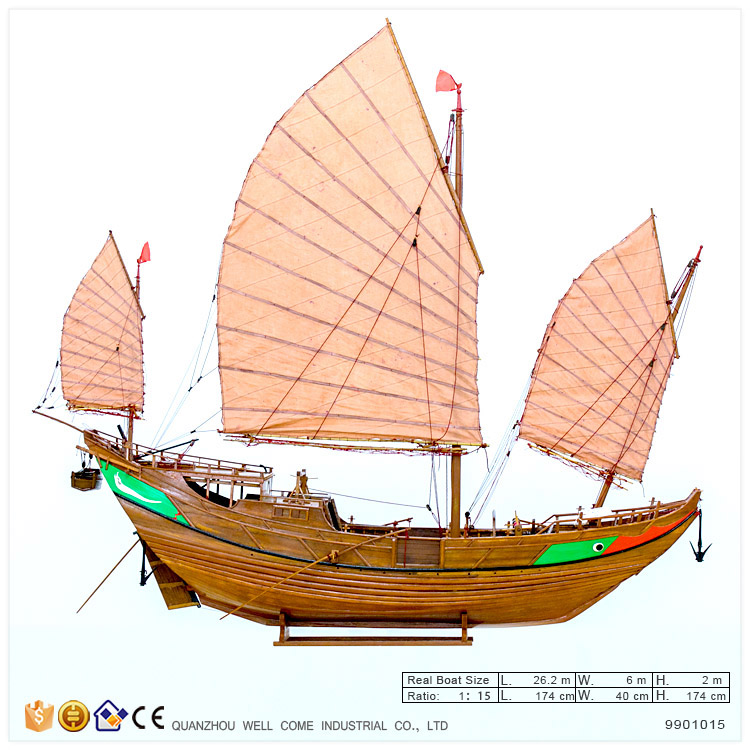 Wooden Model China Rib Boat Antique Decoration Home