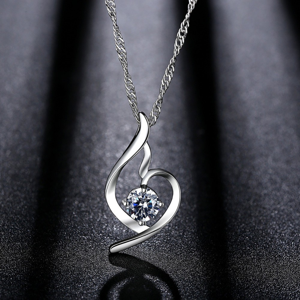 silver women fashion jewellery for pendant jewelry color heart romantic sale pin wedding womens necklace zircon anfansi aaa
